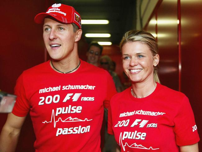 Michael Schumacher with his wife Corrina. (Photo by Getty Images)