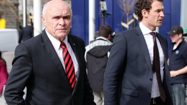 Essendon chairman Paul Little and chief executive Xavier Campbell at the Federal Court. Picture: Norm Oorloff
