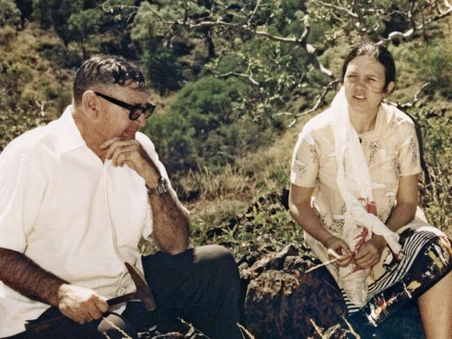 A young Gina Rinehart is pictured at Rhodes Ridge with her father Lang Hancock.