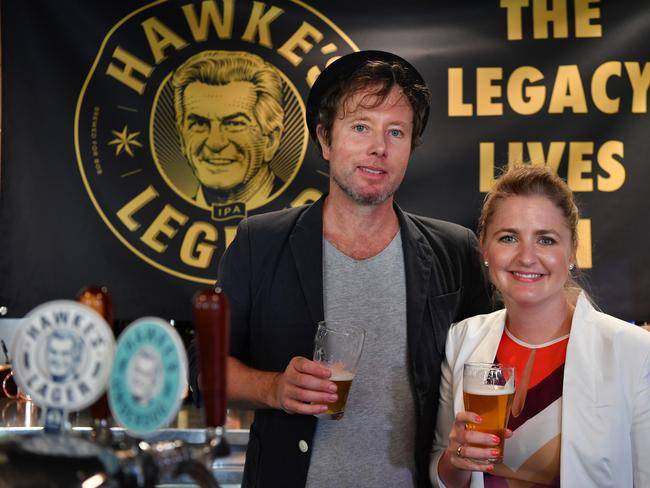 Sophie Taylor-Price, the granddaughter of the late Bob Hawke, and Louis Pratt, the son of Blanche d'Alpuget at the launch. Picture: Dean Lewins/AAP