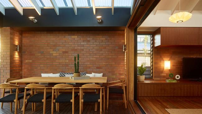The outdoor living area at the home at 77 McConaghy St, Mitchelton, after the renovation. Photographer: Scott Burrows.