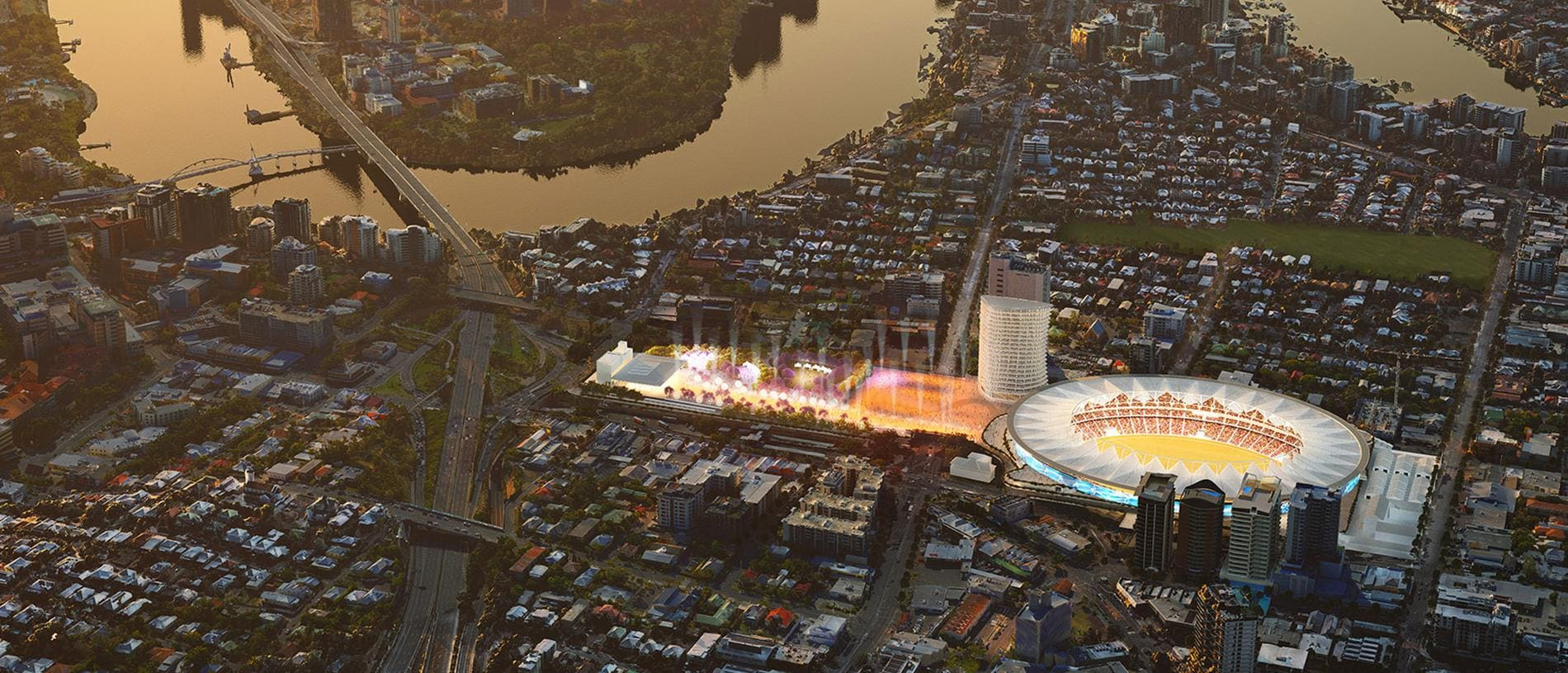 Supplied artist impression of the proposed Gabba redevelopment.