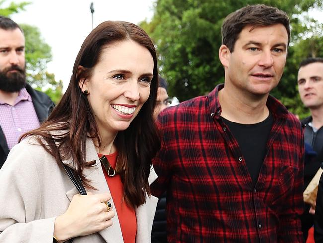 New Zealand Prime Minister Jacinda Ardern and her partner Clarke Gayford, pictured in October. Picture: Hannah Peters/Getty Images