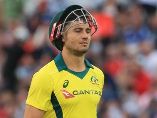 Australia's Marcus Stoinis leaves the crease after losing his wicket for 44 during the third One-Day International (ODI) cricket match between England and Australia at Trent Bridge cricket ground in Nottingham, central England on June 19, 2018. / AFP PHOTO / Lindsey PARNABY / RESTRICTED TO EDITORIAL USE. NO ASSOCIATION WITH DIRECT COMPETITOR OF SPONSOR, PARTNER, OR SUPPLIER OF THE ECB