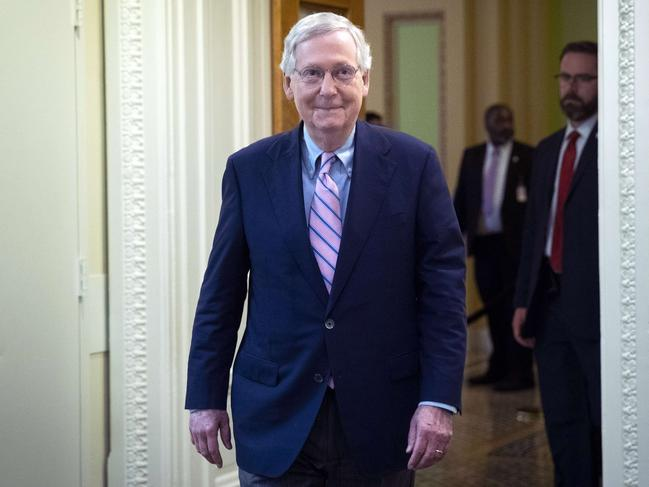 Senate Majority Leader Mitch McConnell walks to a press conference following the Senate's confirmation of the nomination of Judge Brett Kavanaugh to the US Supreme Court in a 50-48 vote. Picture: Getty/AFP