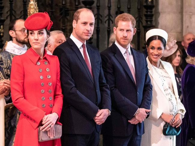Catherine, Duchess of Cambridge, Prince William, Prince Harry, and Meghan, Duchess of Sussex are apparently no longer the 'Fab Four' of the royal family. Picture: AFP