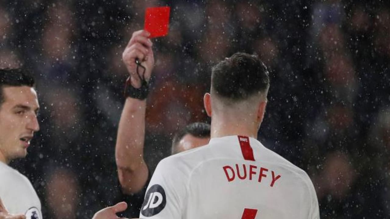 Shane Duffy was showed a red card for headbutting Patrick van Aanholt