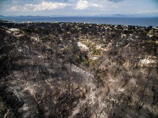 An aerial view shows damage caused by a wildfire near the village of Mati, near Athens. Picture: AFP