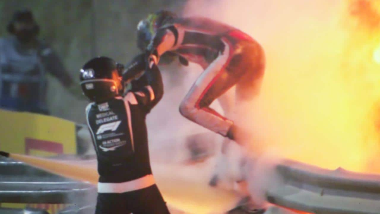 Romain Grosjean leaps to safety after his car burst into flames during the Bahrain GP.