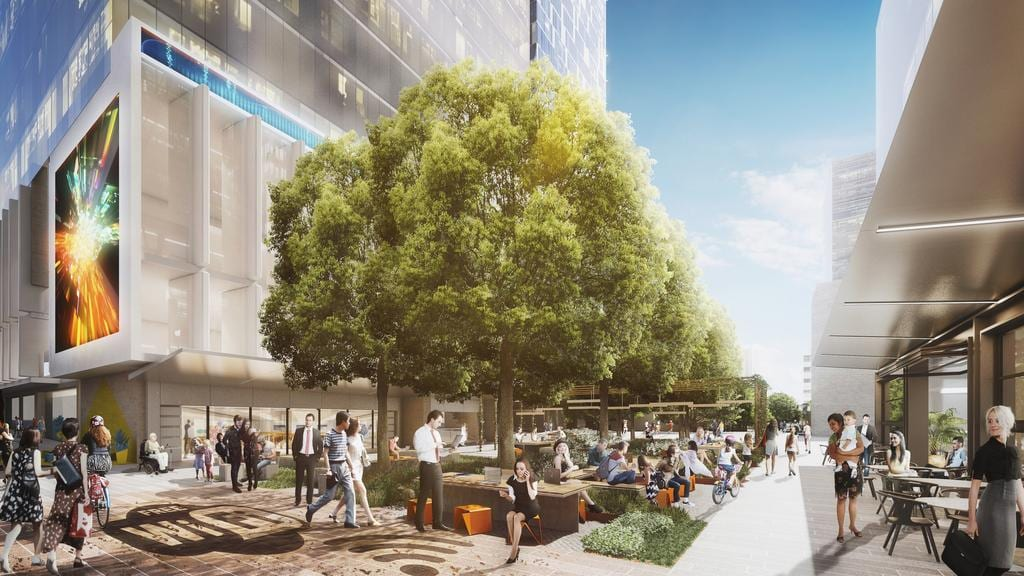 An artist's impression of the Smart Hub on the proposed Civic Link in Parramatta.