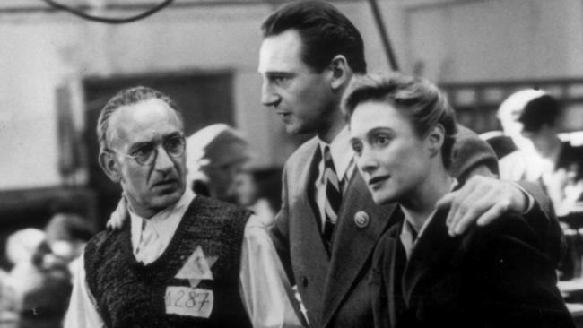 Ben Kingsley with Liam Neeson and Caroline Goodall in Schindler's List.