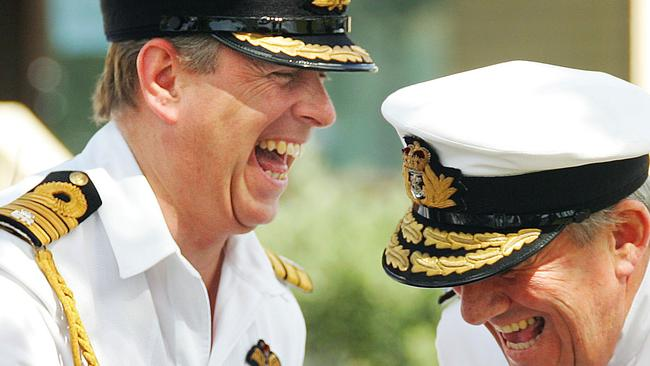 Prince Andrew shares a laugh with Rear Admiral David Ledson in 2007. Picture: AFP