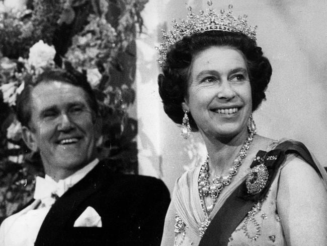Highest office ... Fraser with Queen Elizabeth II at a reception held at Parliament House during the 1977 Royal Tour. Picture: Australian Information Service