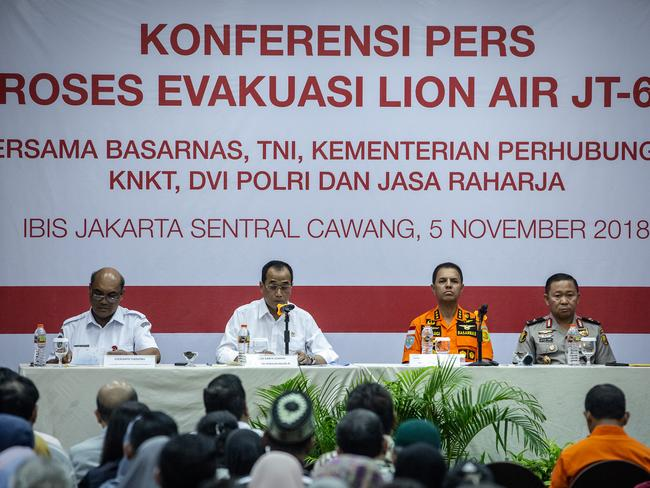 Indonesian officials said they have downloaded the data from a black box recorder for Lion Air flight 610 which crashed into the sea last week. Picture: Getty