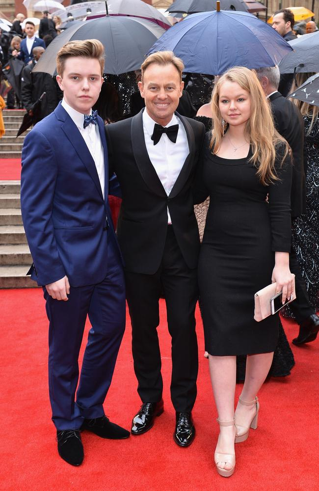 Family day out: Jason Donovan, centre, with his kids Zac and Jemma. Picture: Jeff Spicer/Getty Images
