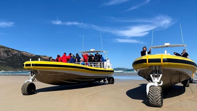 The amphibious boats to get to Skull Rock are a world first in terms of size, design and manoeuvrability. The drive on to the beach before launching in to the ocean.