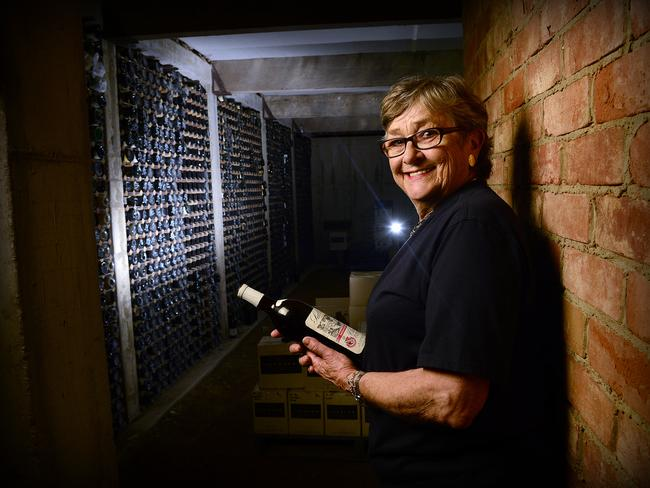 Sharing their collection ... Margaret Lehmann in the family cellar which contains thousands of bottles and is considered an important library of Australian winemaking history. Picture: Mark Brake