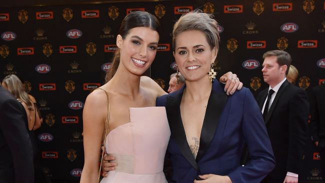 Moana Hope (R) with partner Isabella Carlstrom at the Brownlow Medal count Picture: Jason Edwards