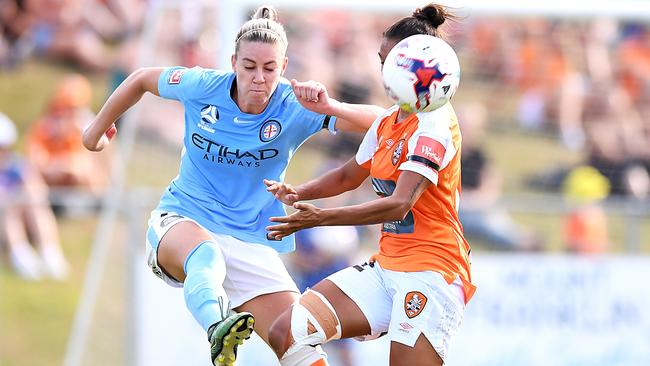 Alanna Kennedy clears from Brisbane's Allira Toby in last week's W-League semi-final win. Picture: Getty Images