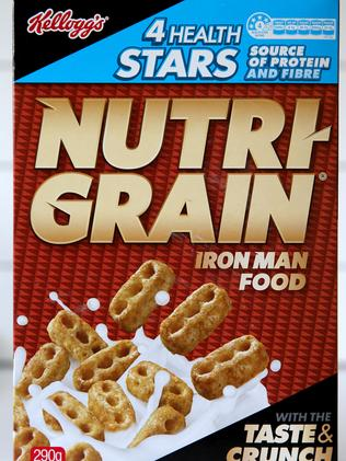 Kelloggs Nutri-Grain breakfast cereal has a 4 HSR, but contains 32g of sugar per 100g. Picture: Nathan Edwards