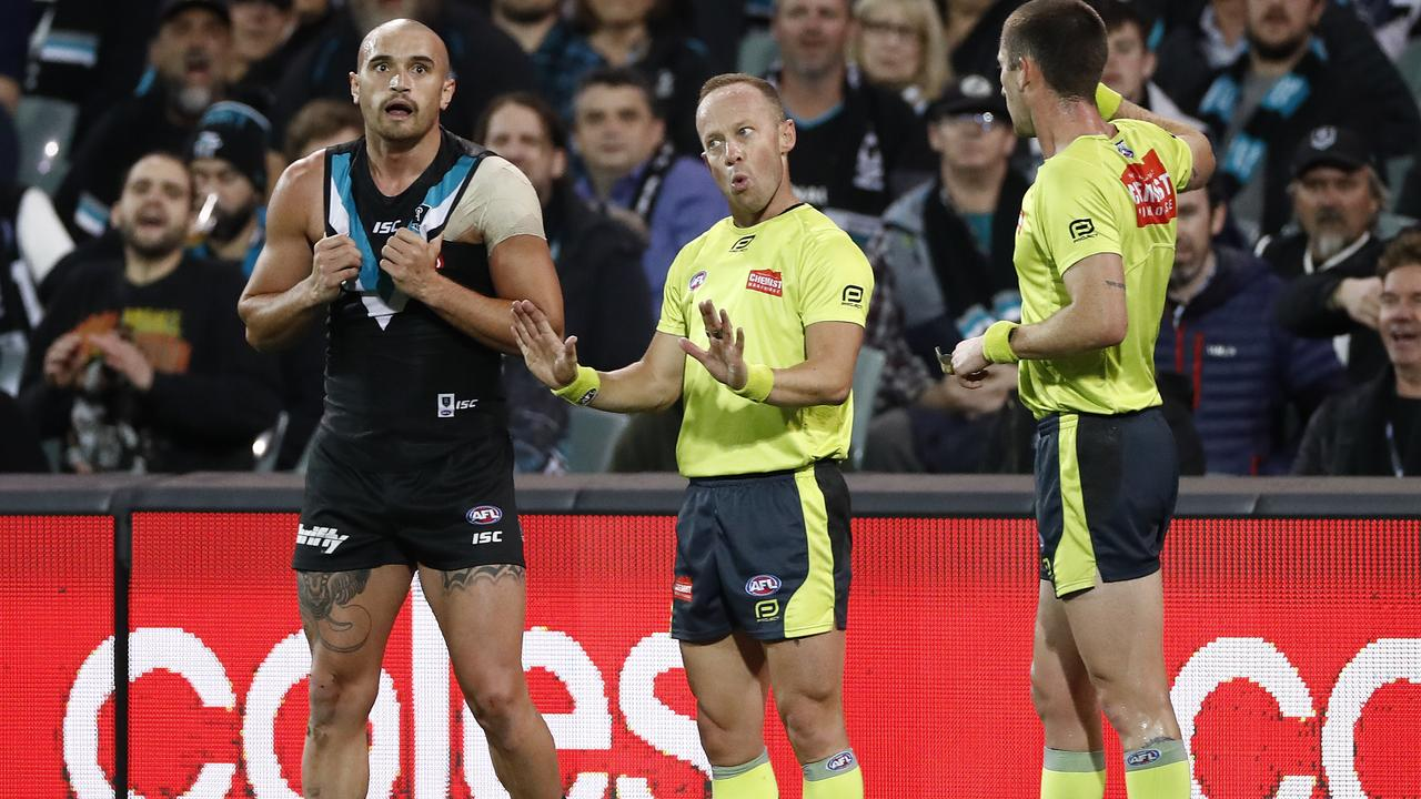 Ray Chamberlain umpired the qualifying final between Port Adelaide and Geelong. Picture: Ryan Pierse