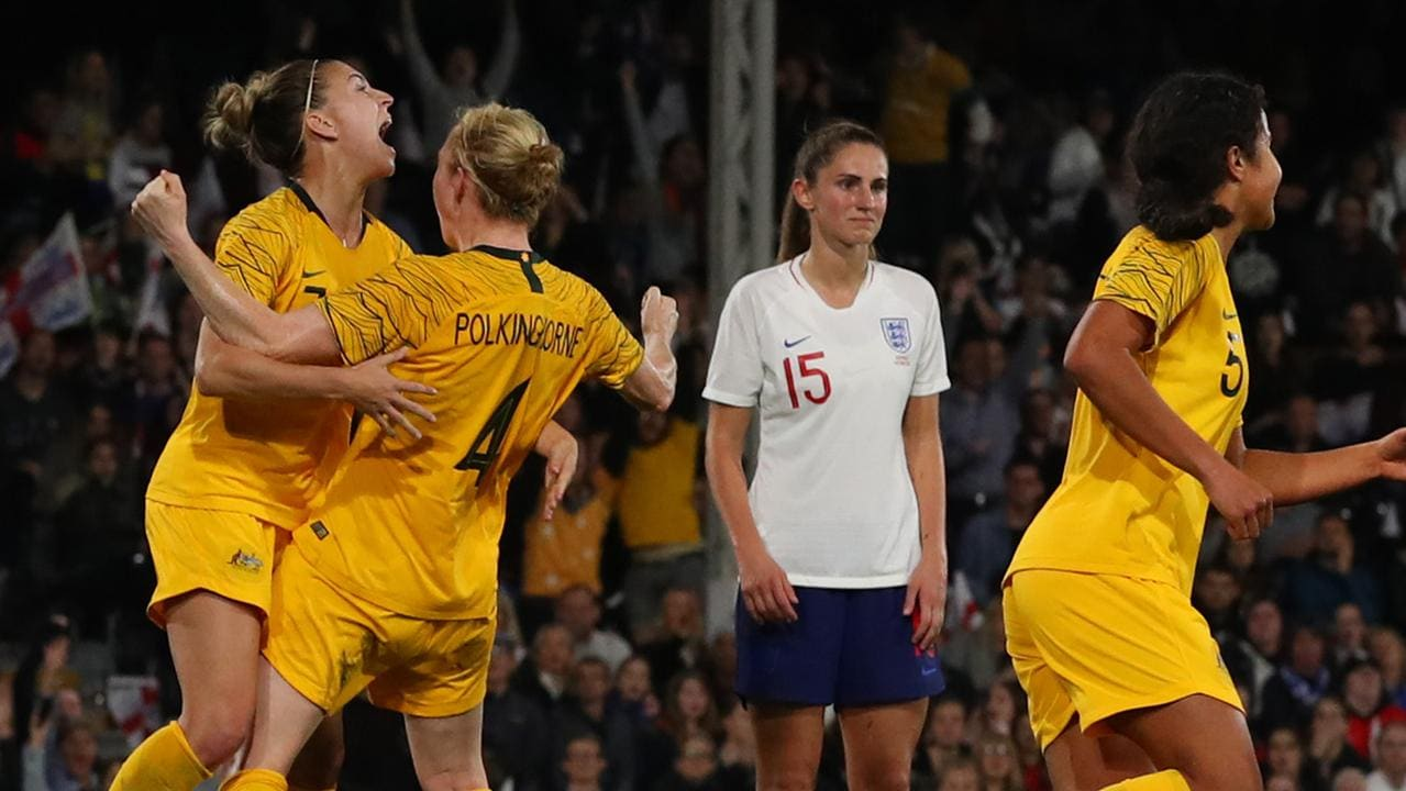 Clare Polkinghorne of Australia celebrates after she scores the Matildas' first goal during the International Friendly against England. Picture: Getty Images