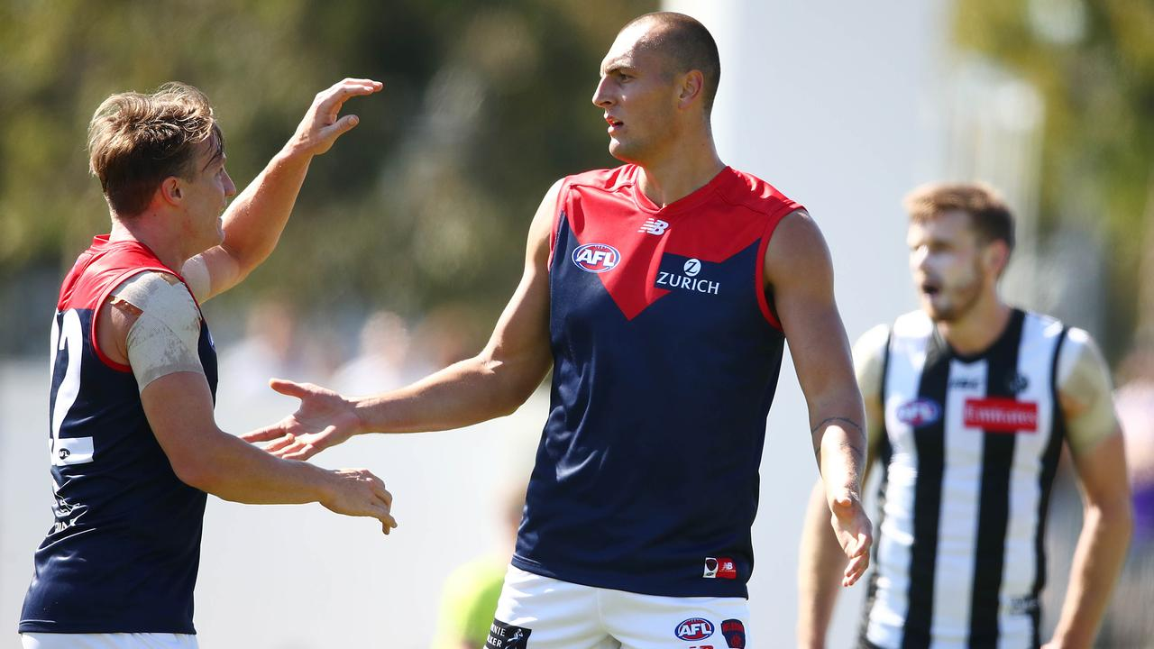 Braydon Preuss in action during Melbourne's practice match against Collingwood. (Photo by Scott Barbour/Getty Images)