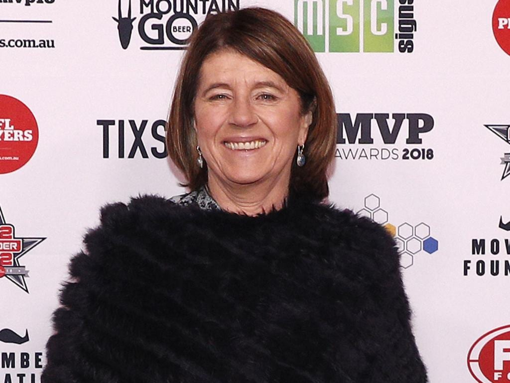 Caroline Wilson arrives during the AFL Players' MVP Awards in Melbourne, Thursday, August 30, 2018. (AAP Image/Daniel Pockett) NO ARCHIVING, EDITORIAL USE ONLY