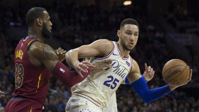 Ben Simmons (R) and LeBron James (L) will be All-Star teammates this year.. Picture: AFP