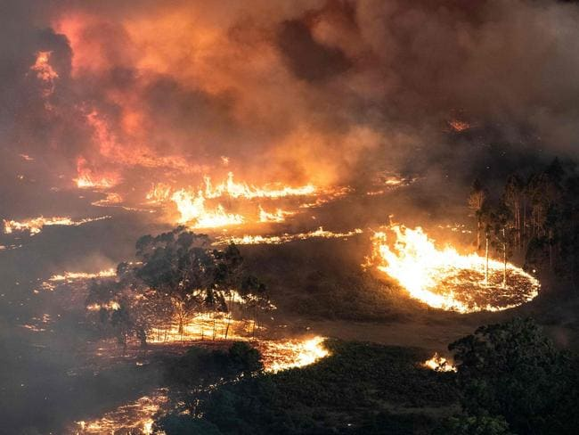 Apocalyptic scenes as fires rage near Bairnsdale in Victoria's East Gippsland region. Picture: AFP