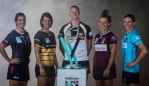 Team captains of the Super W competition for 2019: Melbourne Rebels Meretiana Robinson, Rugby WA Mhicca Carter, ACT Brumbies Michelle Milward, Queensland Lori Cramer and New South Wales Ash Hewson Source: Getty Images
