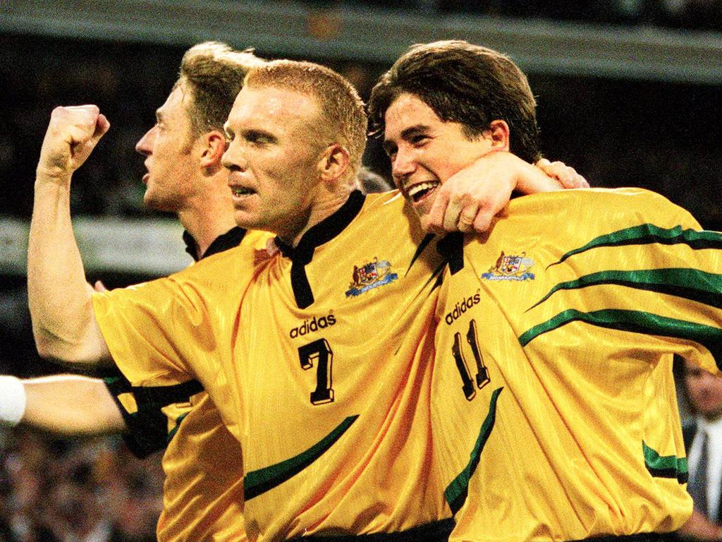 Player Robbie Slater (l) with Harry Kewell. Soccer - Australia Socceroos vs Iran World Cup qualifying match at the MCG 29 Nov 1997. a/ct  /Soccer/World/Cup