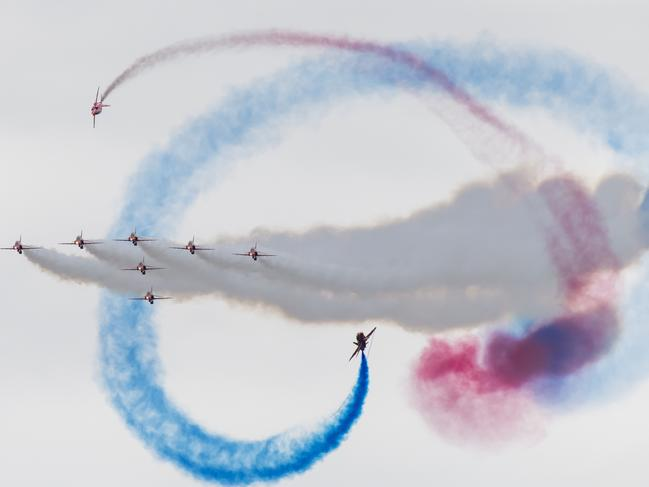 The Red Arrows (BAE Hawk) perform during the International Air Tattoo at RAF Fairford in England. Picture: Getty Images