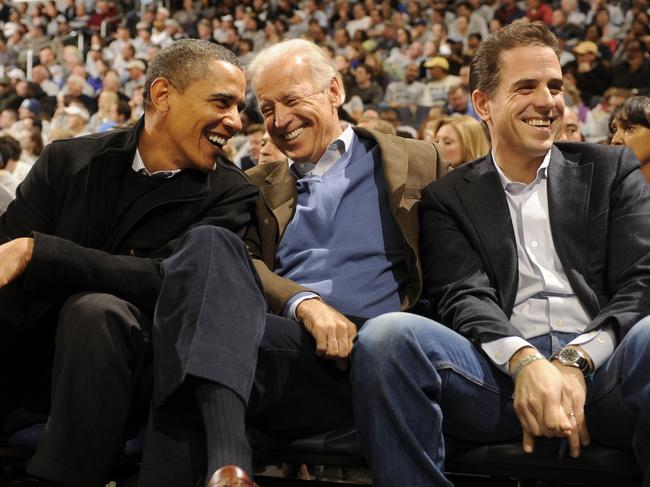 Hunter Biden with his dad Joe, and Barack Obama in 2010. Picture: Getty Images
