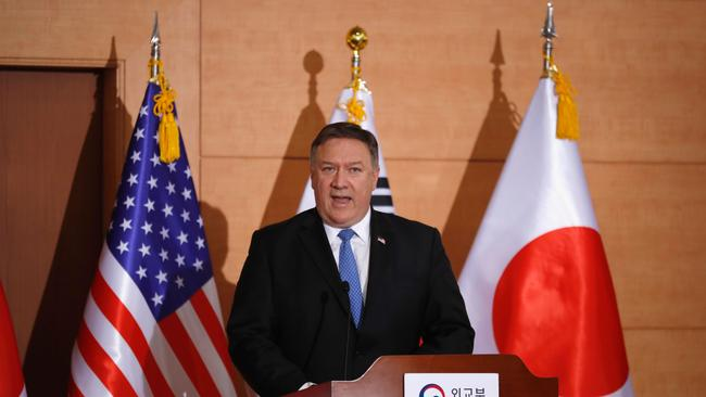 US Secretary of State Mike Pompeo speaks during a joint news conference in Seoul. Picture: Kim Jong-hi/AFP