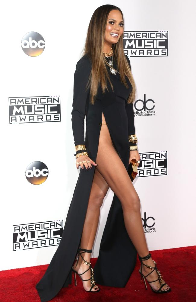 Model Chrissy Teigen hits the red carpet at the 2016 American Music Awards. Picture: Getty