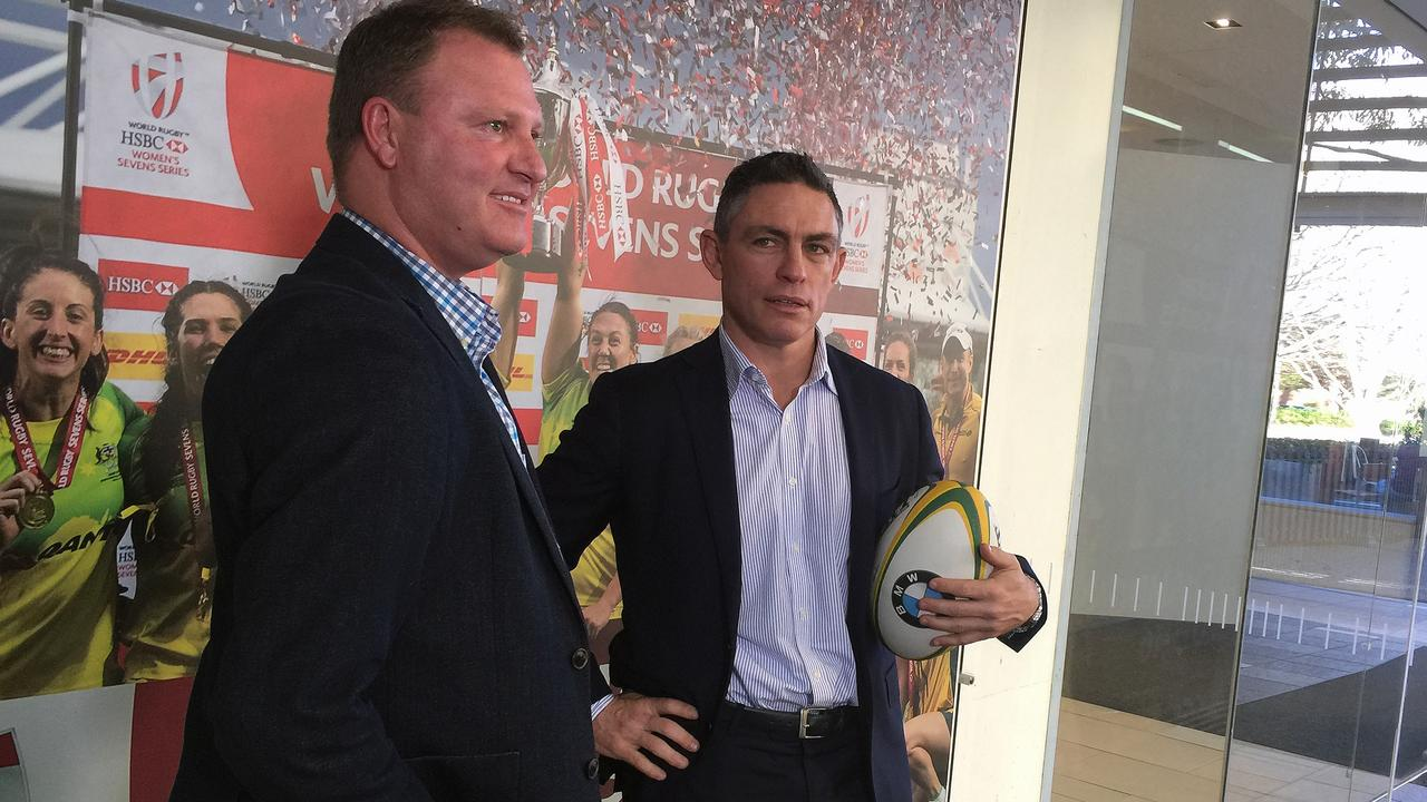Rod Kafer (right) and Rugby Australia general manager of high performance Ben Whittaker.