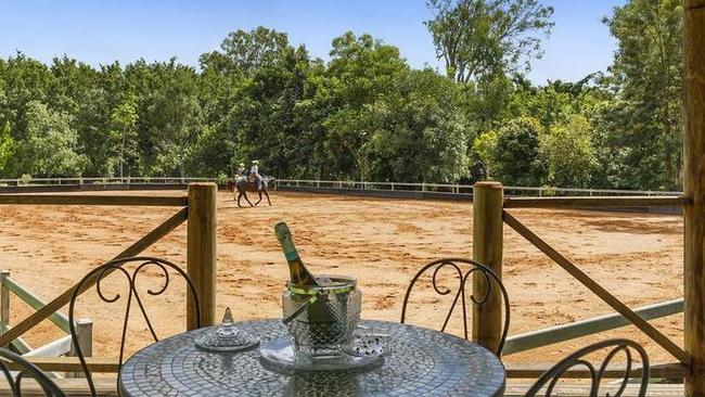The equestrian arena at the property at 15 Kilgour Rd, Camp Mountain.