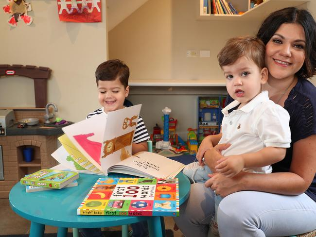 Tiffany Levine with Lewis, 3 and Ethan, 2. Picture: Liam Kidston