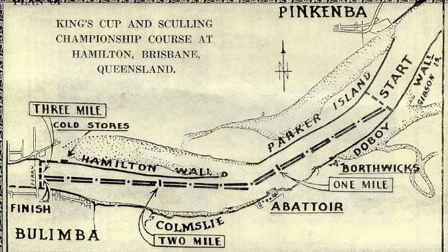 Course of 1939 King's Cup on Brisbane River