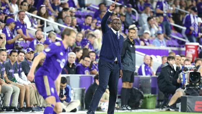 New York City FC head coach Patrick Vieira against Orlando in the MLS.