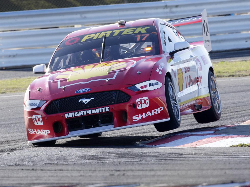 Scott McLaughlin on his way to winning race 7 at Symmons Plains.