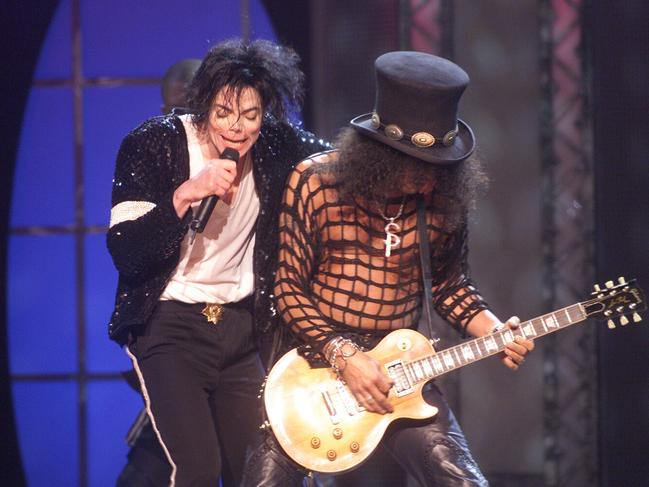 Michael Jackson performs with Slash at the Michael Jackson: 30th Anniversary Celebration, The Solo Years at Madison Square Garden in New York City in 2001. Picture: Dave Hogan/Getty Images