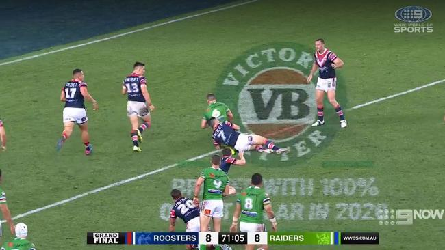 Wighton takes the tackle, and Cummins rules a turnover. Picture: Nine