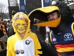 Tigers and Crows fans at the MCG. Picture: AAP Image/Julian Smith