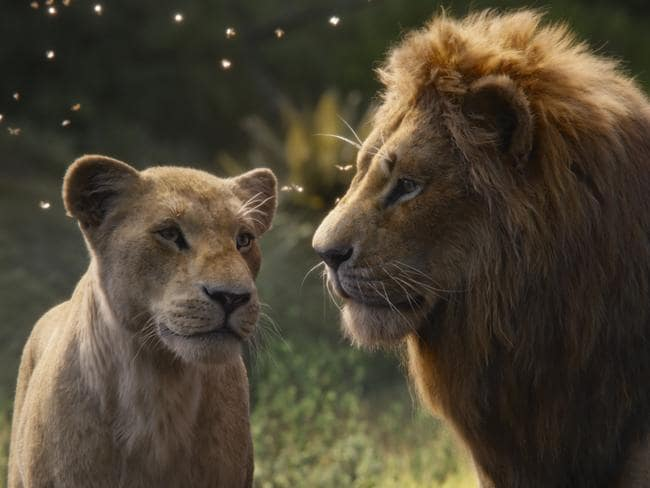 Nala, voiced by Beyonce Knowles-Carter, and Simba, voiced by Donald Glover, in a scene from The Lion King.