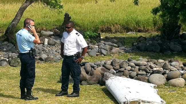 A piece of debris later identified from missing Malaysia Airlines plane MH370, found on the French Indian Ocean island of La Reunion. Picture: AFP/Yannick PITOU