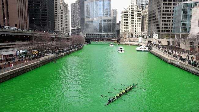 Chicago dyes river green amid st patricks day festivities rowers navigate the chicago river shortly after it was dyed green in celebration of st malvernweather Image collections