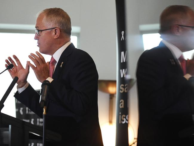 Prime Minister Malcolm Turnbull announce the new eSafety Commissioner at the White Ribbon Day breakfast in Canberra. Picture: AAP Image/Mick Tsikas