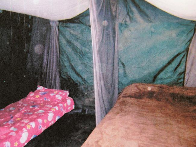 A tent at the Colt incest family farm where brother and sister slept openly together each evening.
